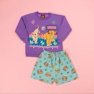 Vintage 90s purple lion king sweatshirt+shorts